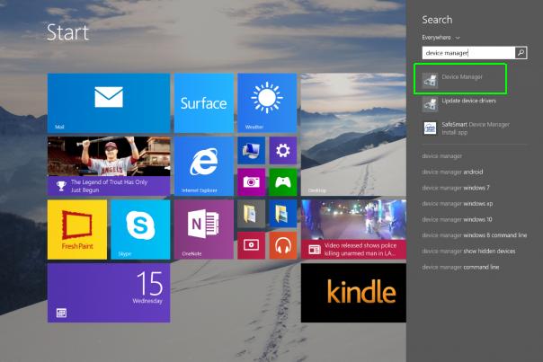 Cara mencari device manager pada Windows 8