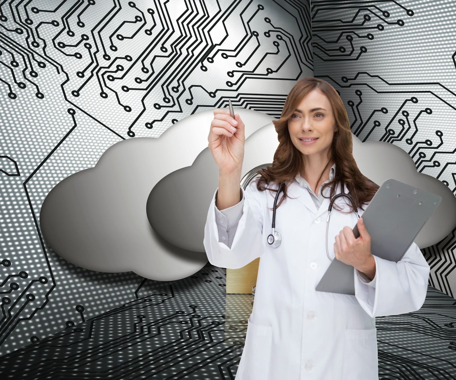 Doctor standing in front of cloud concept