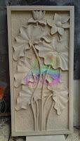 ukiran batu motif lotus