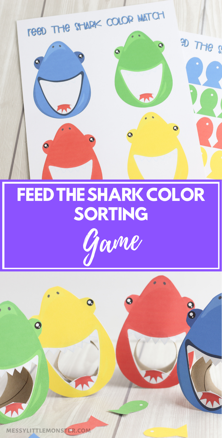 Feed the shark color matching game for kids.