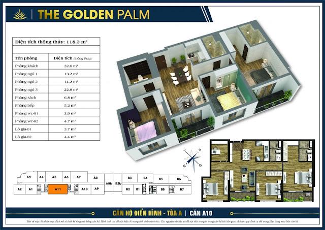 Thiết kế căn hộ A11 tòa A chung cư THE GOLDEN PALM