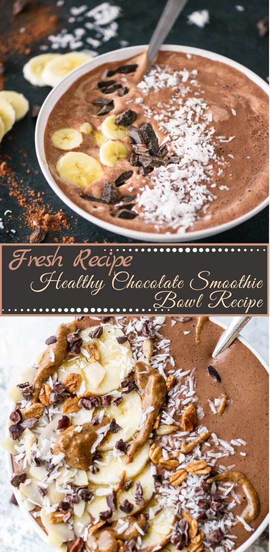 Healthy Chocolate Smoothie Bowl Recipe #healthyfood #dietketo #breakfast #food