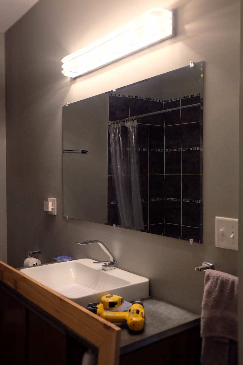 Diy Bathroom Mirror Frame Without Removing Mirror Clips Her Happy Home In 2020 Bathroom Mirrors Diy Diy Mirror Frame Bathroom Bathroom Mirror Frame