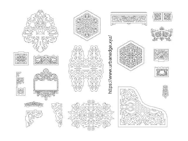 Decorative wooden art cad blocks download, 15+ Wooden Jaali dwg