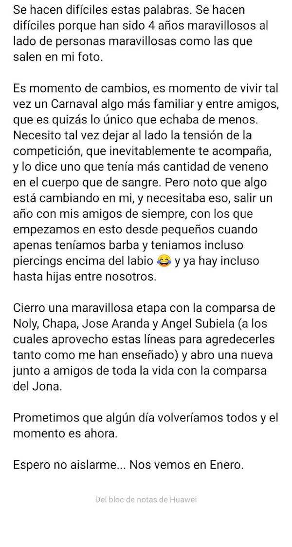 Juan Blanco deja la comparsa de Ángel Subiela y se incorporará a 'Los Aislados' de Jona para el COAC 2020