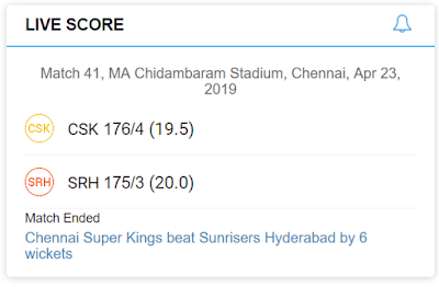 CSK vs SRH IPL 23rd April 2019_uptodatedaily