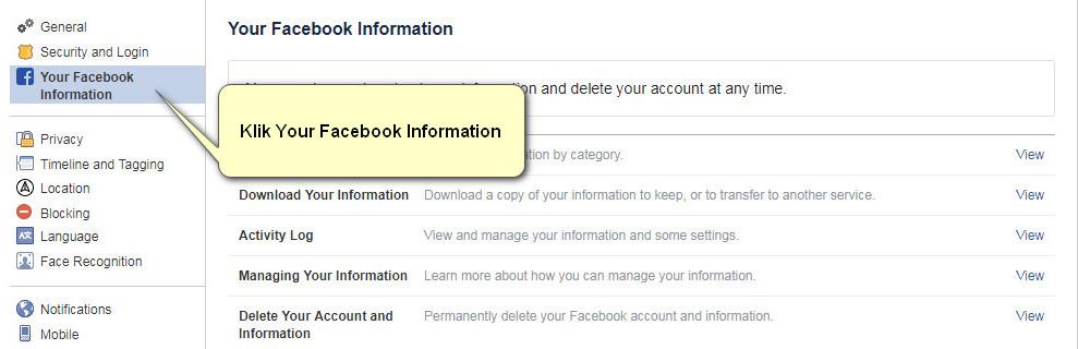 Tahap kedua untuk menghapus akun Facebook