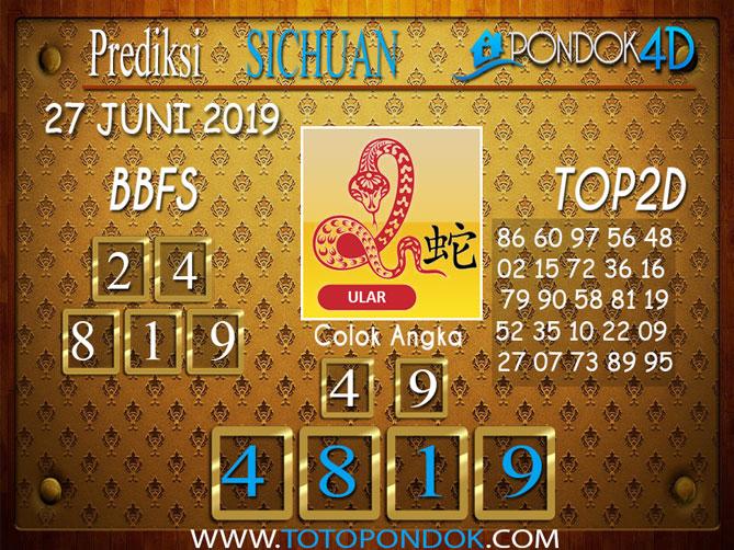 Prediksi Togel SICHUAN PONDOK4D 27 JUNI 2019