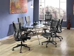 OFM Glass Conference Table and Mesh Chairs