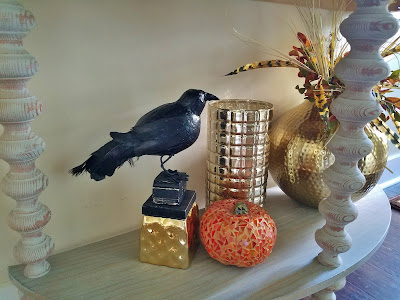 dollar store Halloween raven and mosaic pumpkin