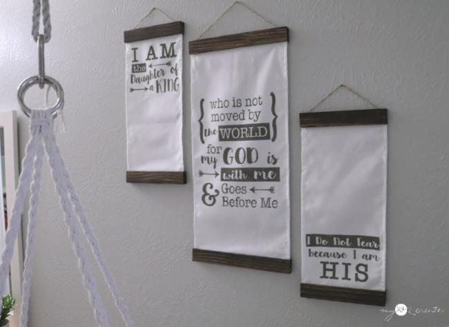 Easy stenciled wall art with fabric and paint sticks