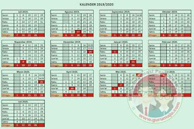 Kalender Pendidikan 2019/2020 Jawa Timur RESMI