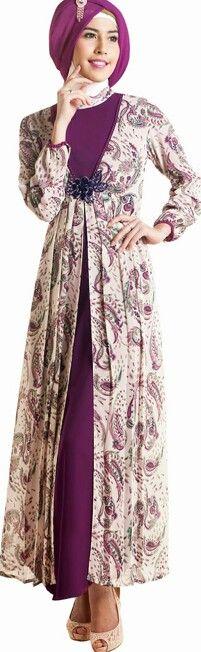 gamis kombinasi batik 16 20 model gamis batik kombinasi terbaru 2017,Model Baju Muslim Variasi Batik