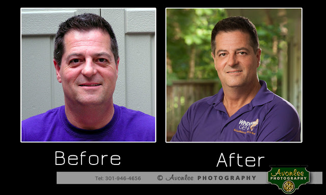 Silver Spring Professional photographer, business head shot, before and after, smart phone selfie