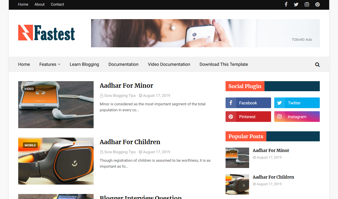Fastest Blogger Template