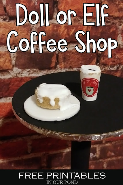 Doll Coffee Shop with Free Printables // In Our Pond // Elf on the Shelf // Dolls Crafting with Kids .// Coffee Shop Decor // Doll Miniatures