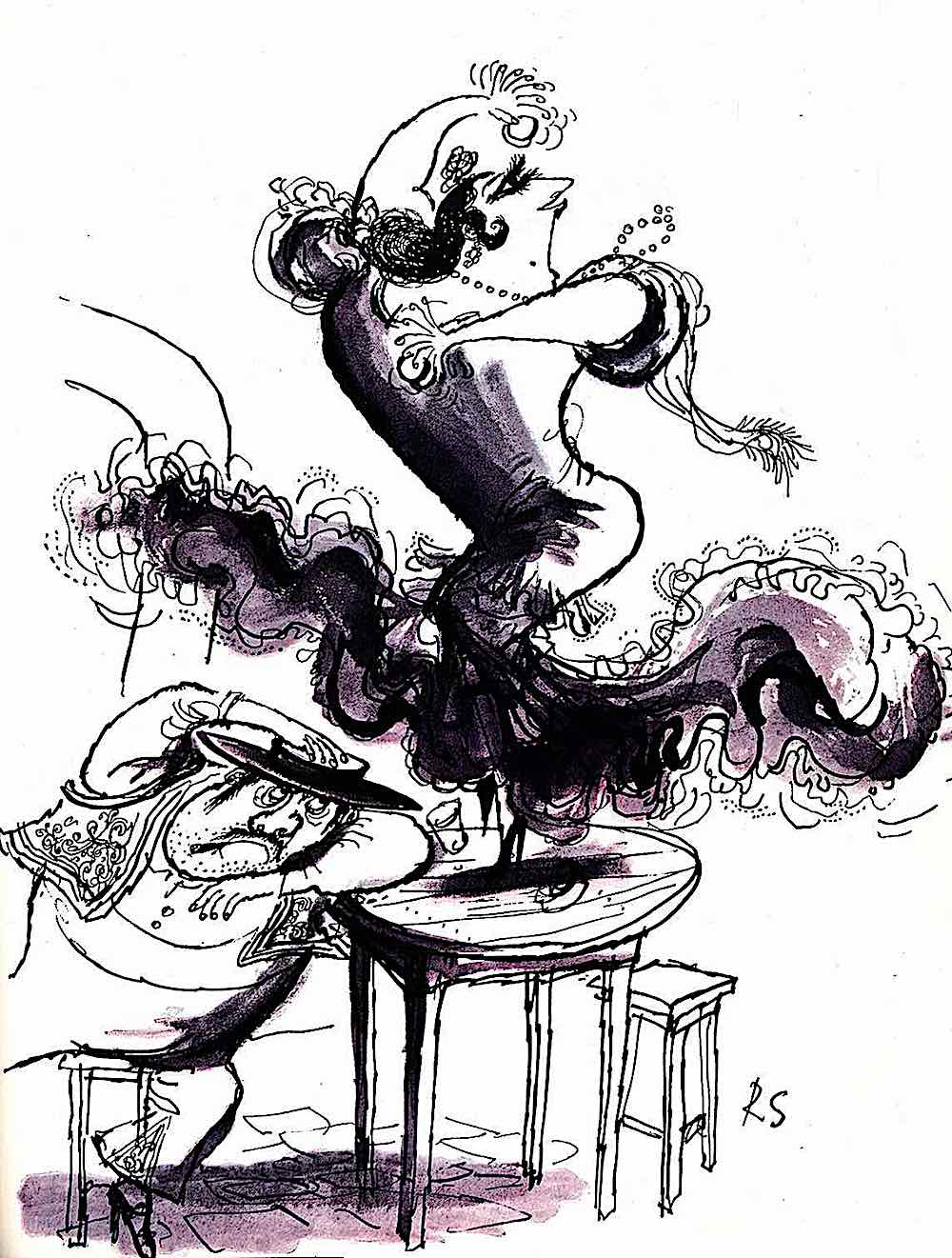 a Ronald Searle sketchbook of a traditional Flemenco dancer in Spain Spain