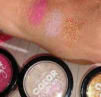 Revlon color charge Fuchsia Copper Holographic eye shadow swatches