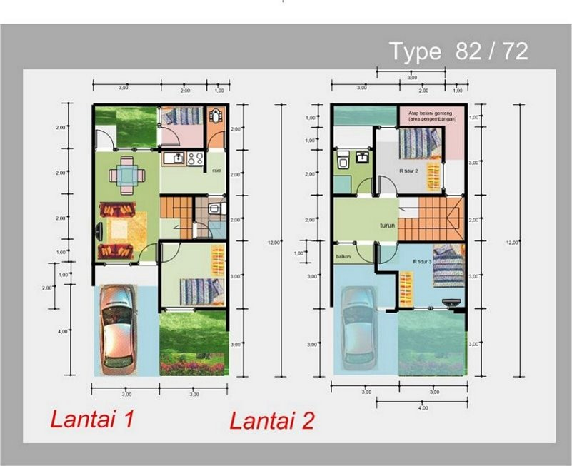 denah rumah ukuran 6x12 m2 yang inspiratif
