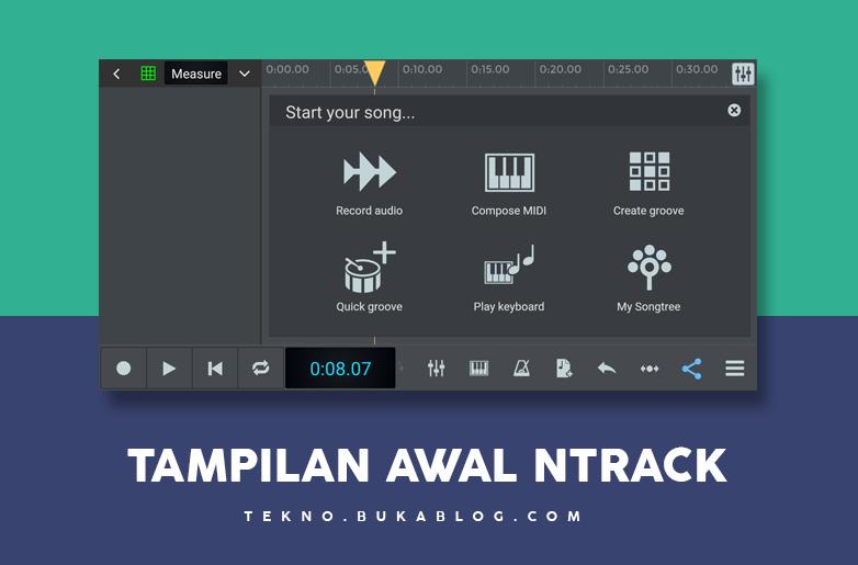 Tampilan awal aplikasi rekaman ntrack studio