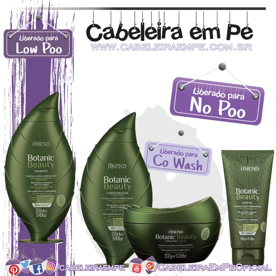 Shampoo (Low Poo), Condicionador, Máscara e Leave in (Liberados para No Poo) Botanic Beauty Óleo de Monói e Extratos de Alecrim e Gengibre - Amend