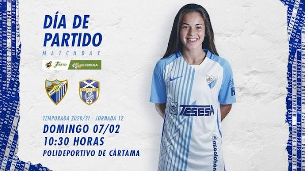 El Málaga CF Femenino - Granadilla Tenerife B, hoy domingo a las 10:30 horas