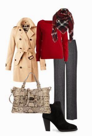 Calças cinza, camisola vermelha, trench-coat bege, cachecol plaid, mala animal print e botins pretos