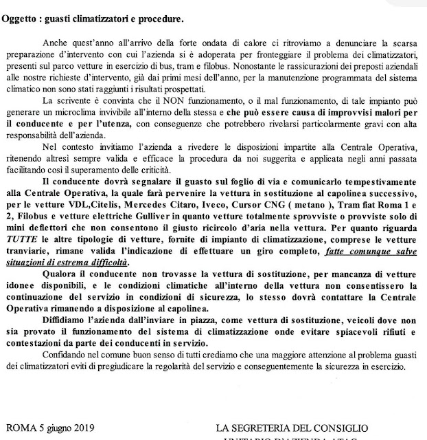 Situazione Trasporto Pubblico Roma giovedì 6 giugno