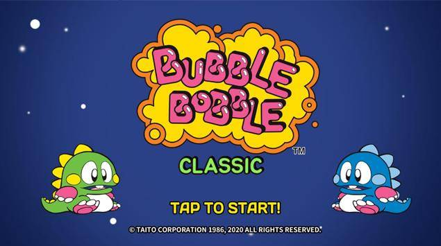 The Classic Bubble Bobble Game can now be played on your Mobile device