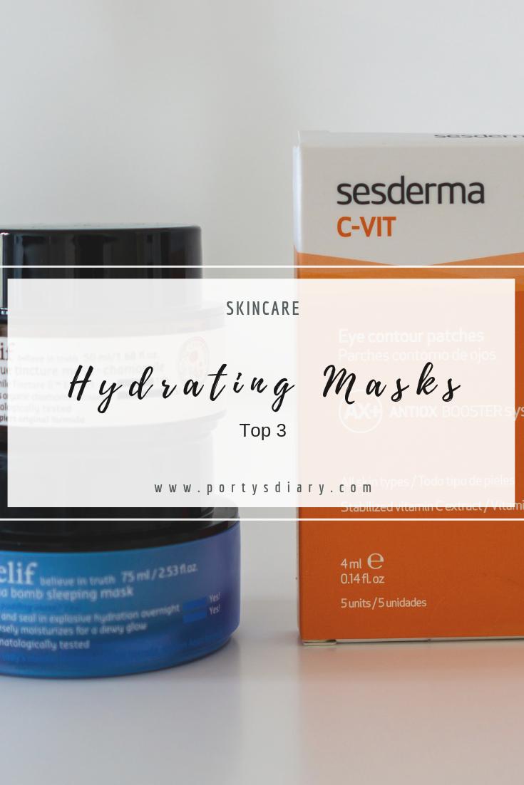 Sesderma C-Vit eye patches, Belif Aqua bomb sleeping mask and The true tincture mask - chamomile