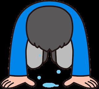 Pessoa chorando, o chão cheio de lágrimas
