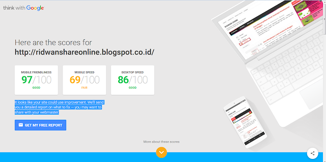 Hasil test mobile website speed testing tool