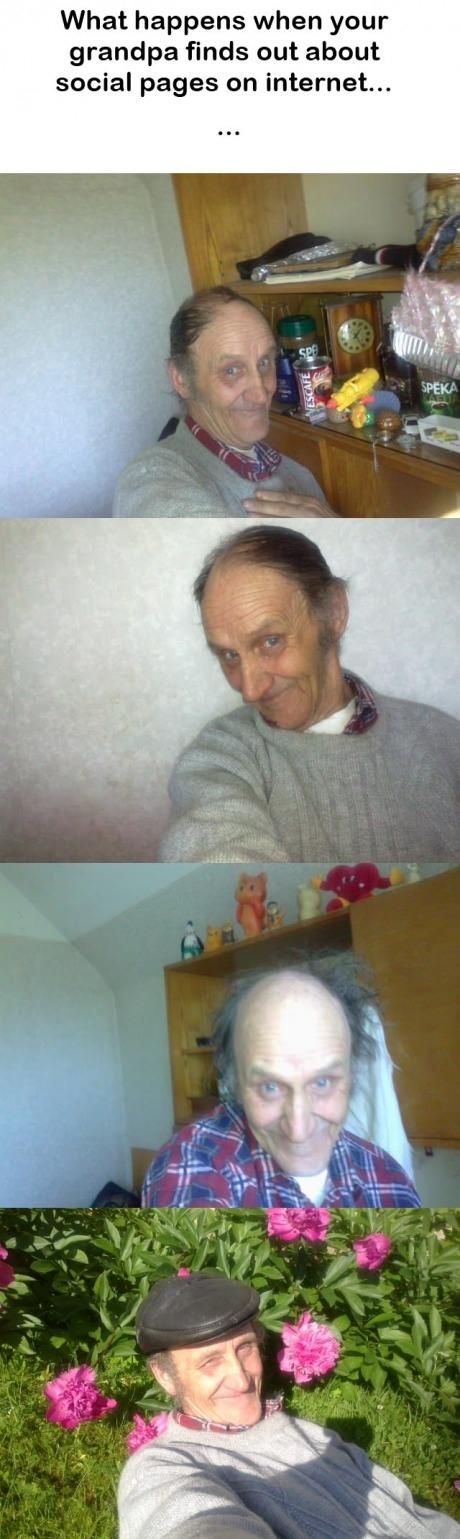 Opa entdeckt Facebook lustig