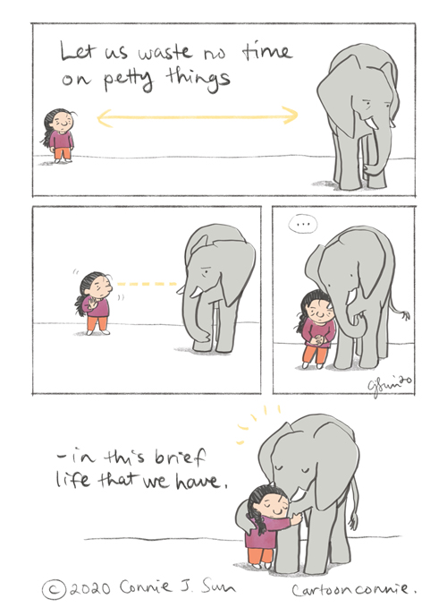 elephant hug illustration, comic strip, sketchbook, drawing, by connie sun, cartoonconnie