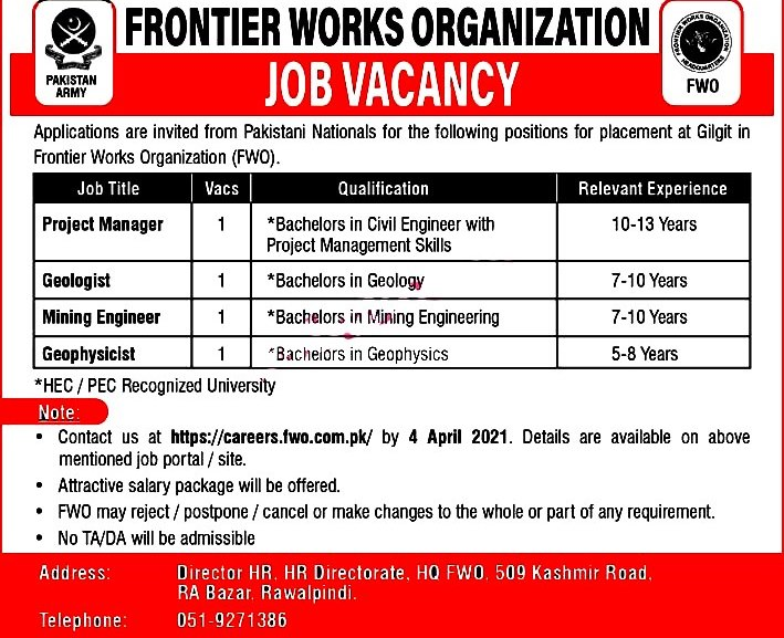 New Jobs in Frontier Works Organization FWO 2021 -Apply www.fwo.com