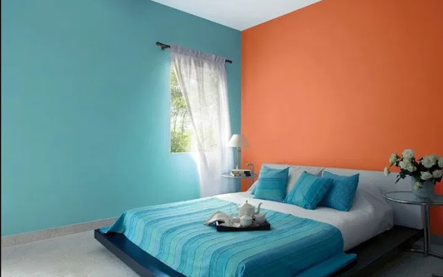 orange two colour combination for bedroom walls