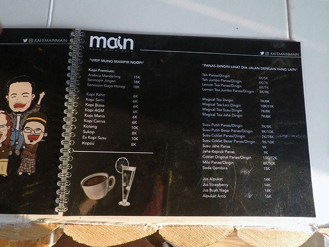 Daftar menu dan harga di Kafe Mainmain Jogja