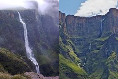 Gambar Tugela Falls air terjuan tertinggi di Afrika Selatan