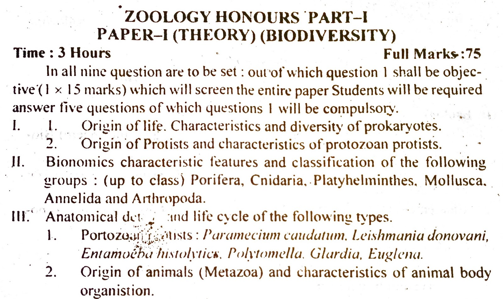 B A  and B Sc  1,2, and 3 year syllabus for TMBU: ZOOLOGY HONOURS part 1