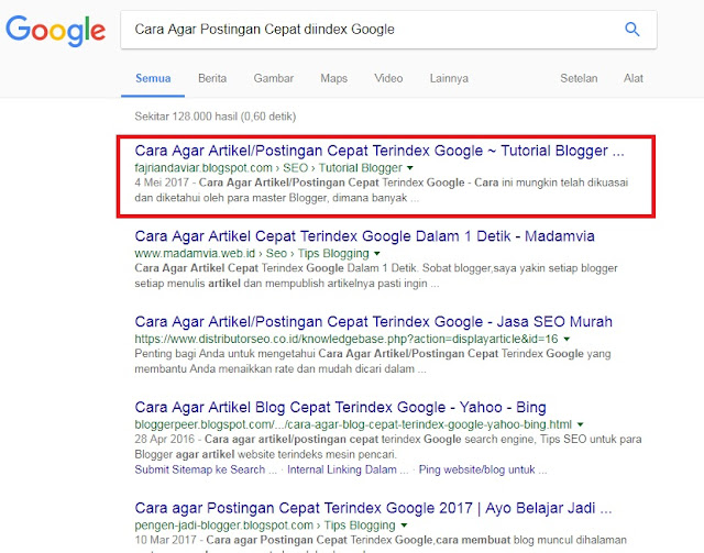 Cara Agar Postingan Cepat diindex Google