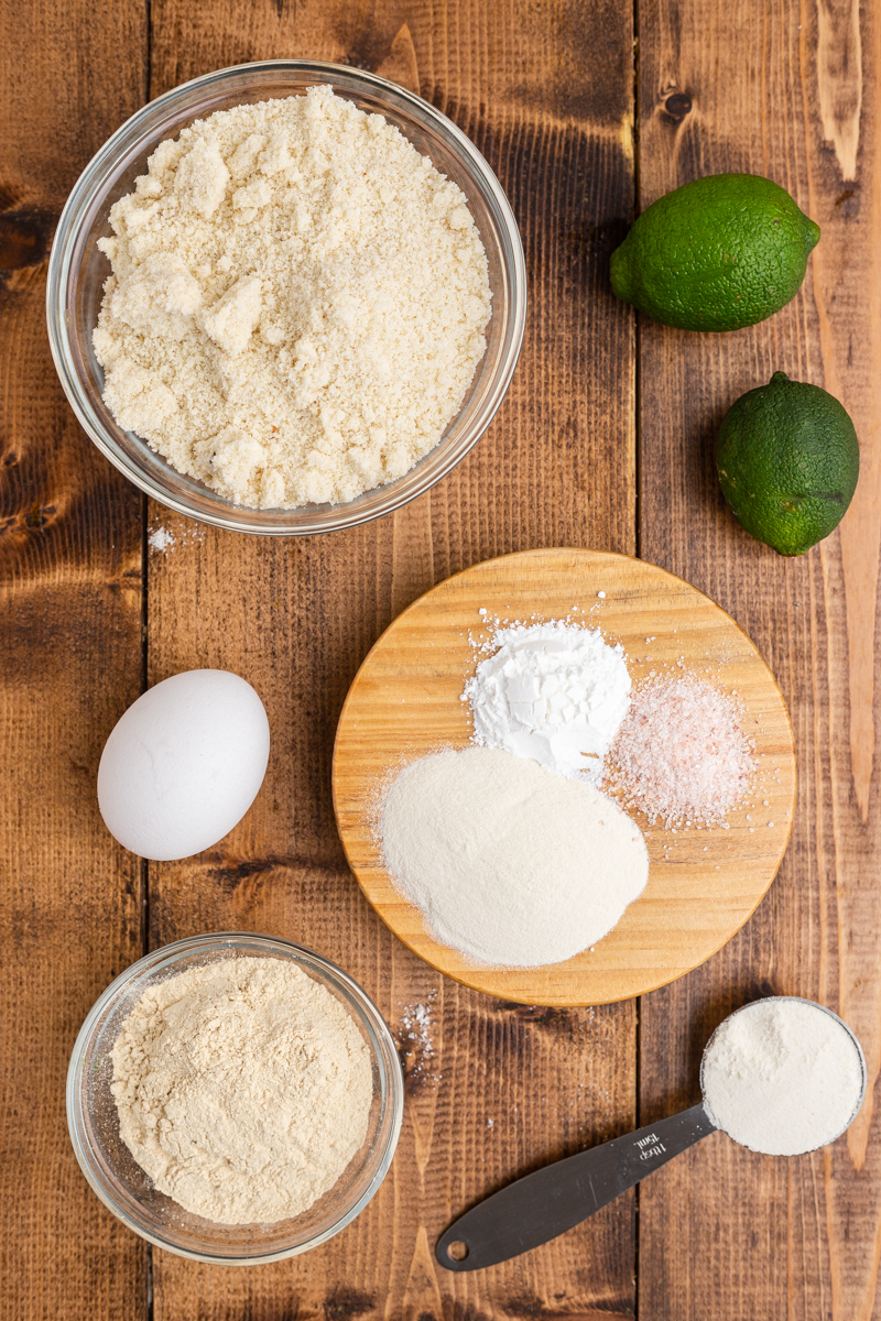 Overhead photo of the ingredients needed to make keto flour tortillas on a wooden table.