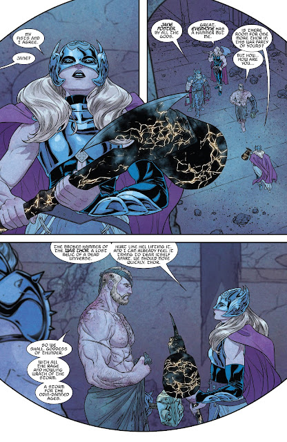 Jane Foster's Mighty Thor joins the team of Thors to defeat Malekith in War of the Realms Issue #6 by Igor11 Comics.