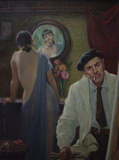 The Artist and the Model, 1940 by Antonio Dattilo-Rubbo with cigarette