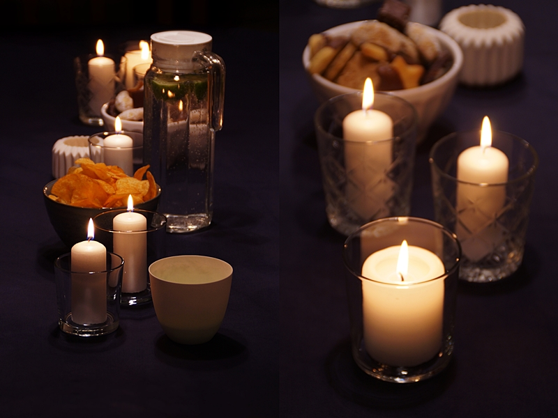 Winter Party White Candles and Dark Table Decoration