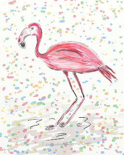 Carnival flamingo drawing with ticker tape