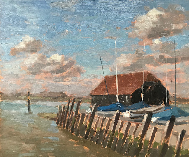 #310 'Winter Covers, Bosham Quay' 10×12″