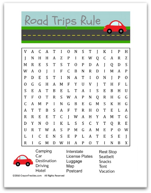 photograph about Free Printable Word Search for Kids known as Crayon Freckles: Street Getaway Term Glance for Small children cost-free printable