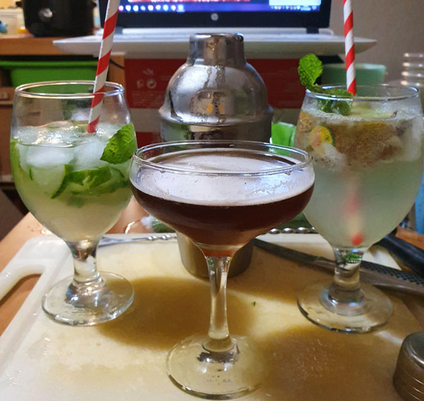 Three different cocktail drinks