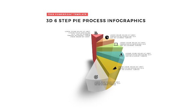 6 Step 3D Pie Chart Design Elements for PowerPoint Templates
