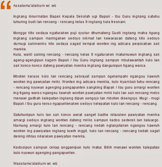 Contoh Pidato Bahasa Jawa Perpisahan Kelas 6